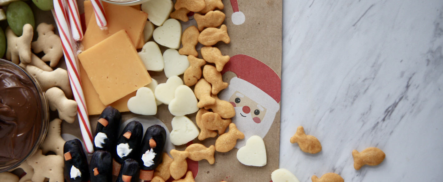Adorable recipe for kids holiday cheese board