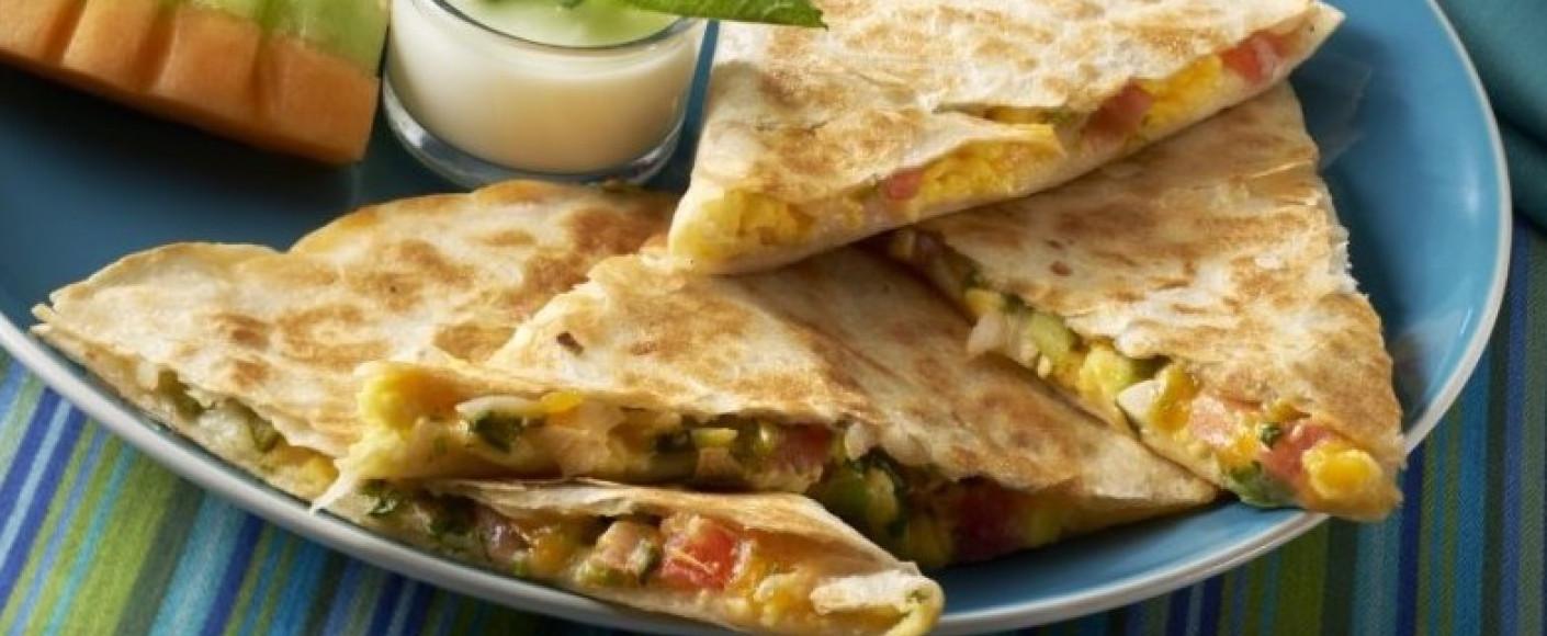 Yummy breakfast quesadilla recipe HEADER