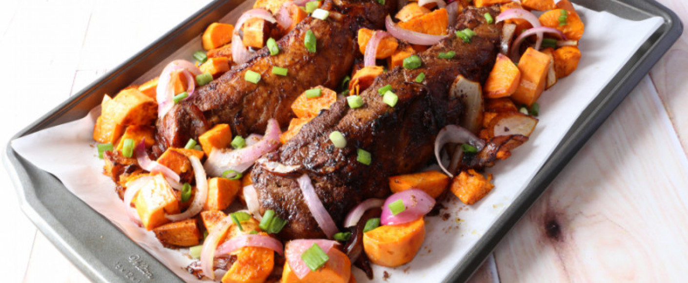 Roast Pork Tenderloin and Sweet Potato Sheet Pan Dinner
