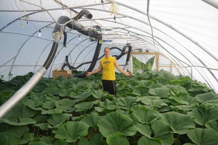 Jacob Marintzer in his giant pumpkin greenhouse