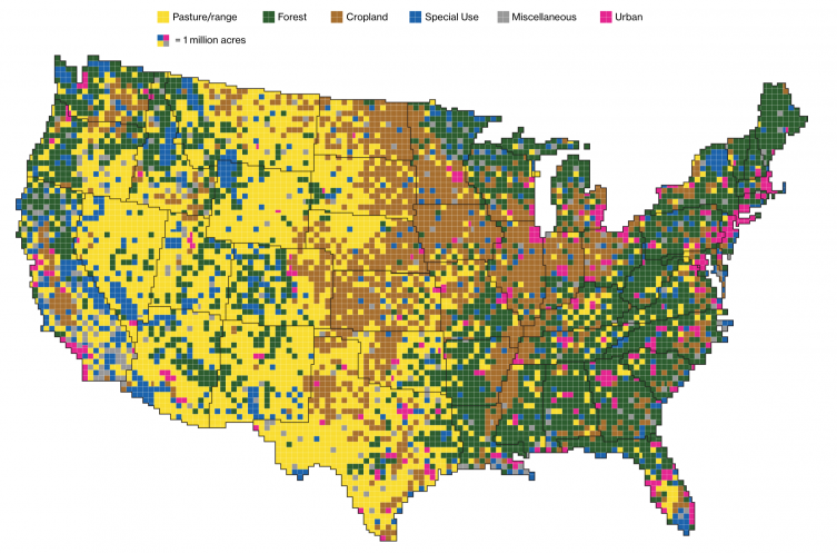 How land is used in the United States: Map