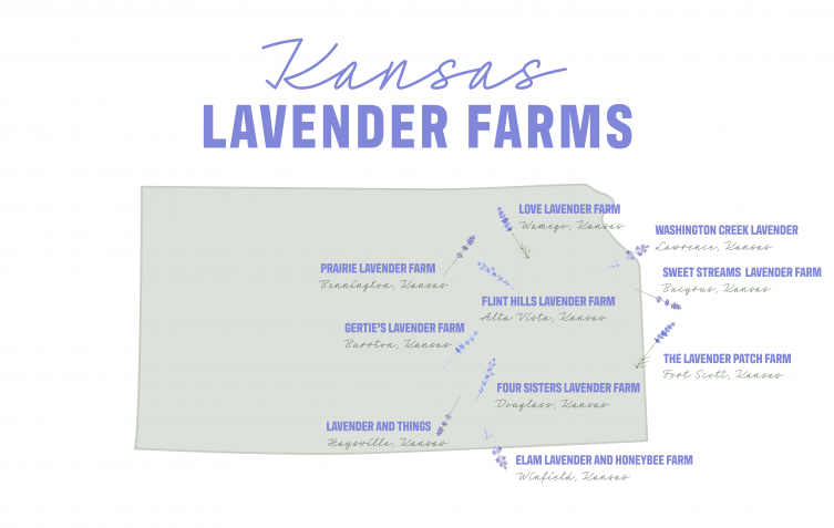 Map of lavender farms in Kansas