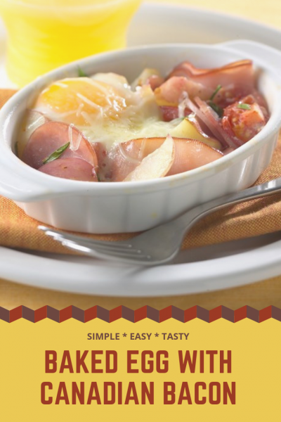 Baked egg with Canadian bacon recipe