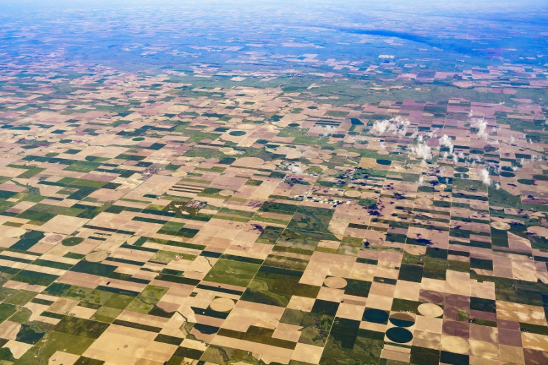 Aerial view of Midwest crop patchwork