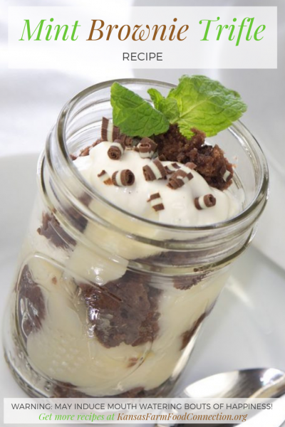 Pin this recipe for Mint Brownie Trifle