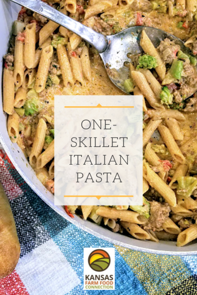 One Pot Pasta - Italian Skillet for Pinterest