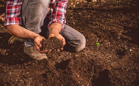Farmer with Soil