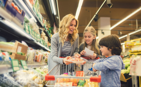 Healthy family food shopping grocery store