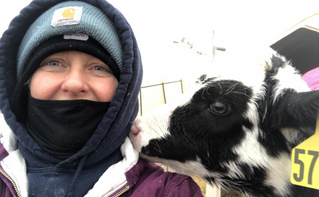 Kelly Hills Dairy Kristina Haverkamp and Calf