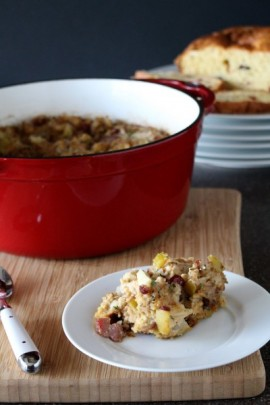 Apple and Bacon Smokehouse Cranberry Cheese Bread Stuffing